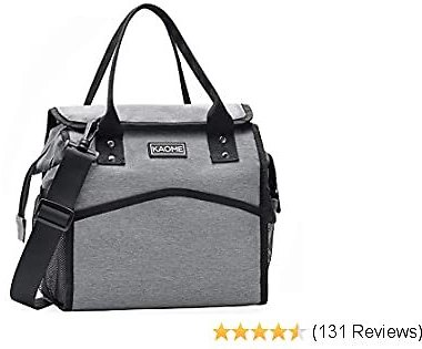 Lunch Bags for Women, Insulated Lunch Box, Kaome Unisex Adult Lunch Box Waterproof and Leakproof Wide-Open Cooler Bag with Removable Shoulder Strap for Picnic/Beach/Fishing/Work