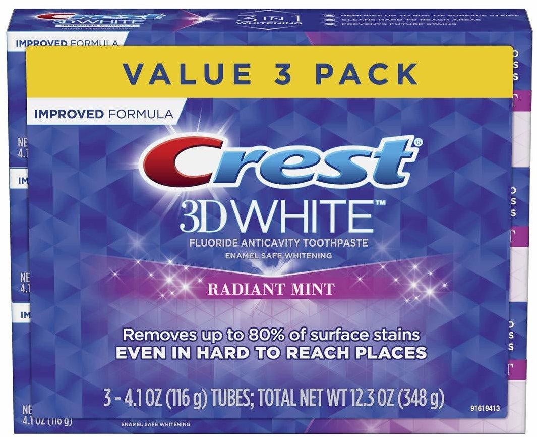 21% OFF | Crest 3D White Toothpaste Radiant Mint (3 Count of 4.1 Oz Tubes), 12.3 Oz Packaging May Vary