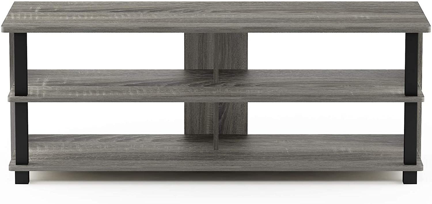 Furinno Sully 3-Tier Stand for TV Up to 50, French Oak Grey/Black