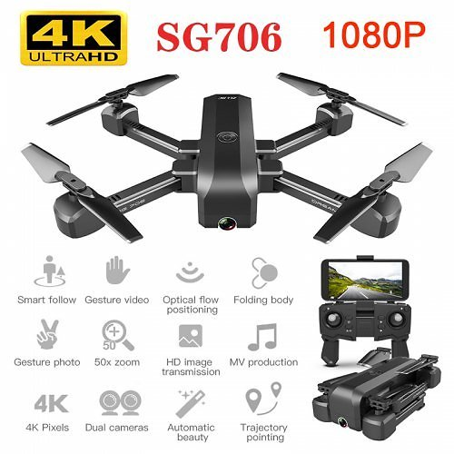 SG706 Drone with 4K WiFi 1080p Dual Camera Quadcopter Optical Flow Stability Height RC Toy