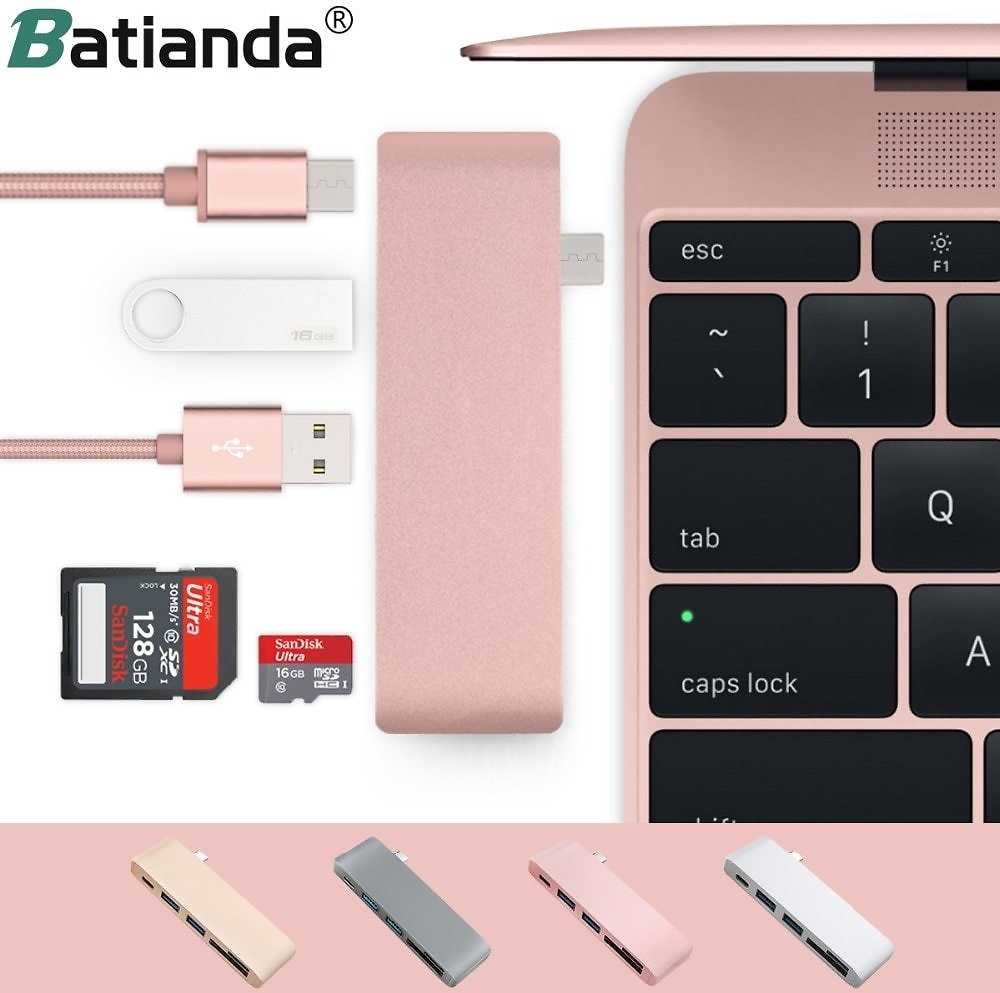 5 in 1 USB-C Adapter with 2 USB 3.0 Ports Micro SD Memory Reader Type-C USB 3.0 Hub For New Macbook Pro Air A1932 / A2179