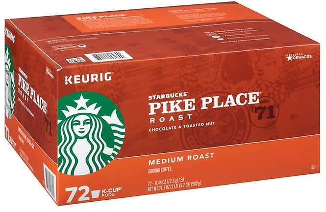 Starbucks Pike Place Medium Roast K-Cup, 72-count
