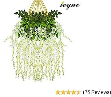 Ivyue 12sPack Wisteria Vine Artificial Silk Wisteria Lane Rattan Fake Wisteria Artificial Flowers Garland Hanging Flowers Wisteria Bush for Home Garden Party Wall Wedding Decoration 3.6feet (White)
