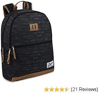 Trailmaker Backpacks for Boys and Men with Padded Straps, Suede Bottom for School, Travel (Black)