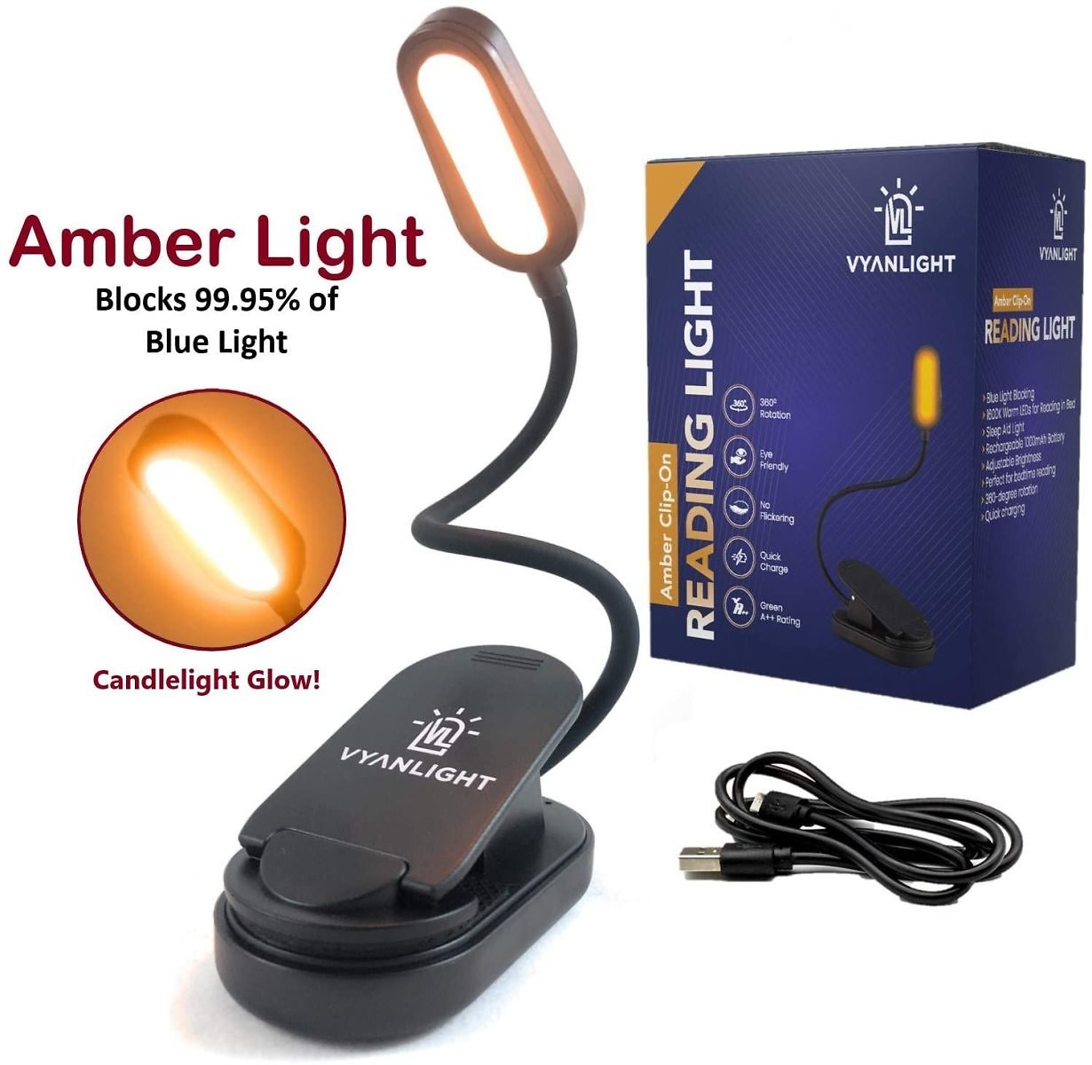 Book Light for Reading in Bed, Amber Clip On Reading Light, 99.95% Blue Light Blocking, Rechargeable, 1600K Warm LEDs with 3-Set