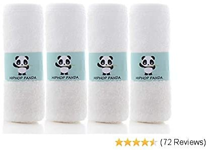 HIPHOP PANDA Bamboo Burp Cloths - Thickening 2 Layer Ultra Absorbent Burping Cloth for Baby Boys and Girls, Newborn Essentials Towel - Milk Spit Up Rags - Burpy Bib for Unisex - White (4-Pack)