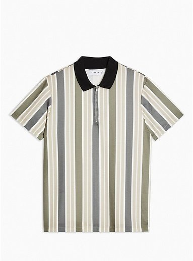 Khaki Stripe Textured Polo