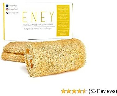 ENEY Eco-Friendly Natural Washing Up Dish Sponge | 100% Plant-Based Biodegradable | Three Pack of Non-Odor Kitchen Sponges | Sustainable Unbleached Loofah | Plastic-Free