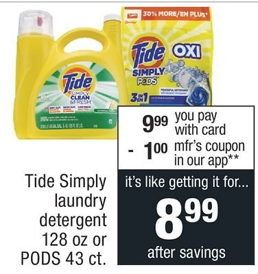 138 Ounces Tide Simply Clean & Fresh Laundry Detergent, Refreshing Breeze