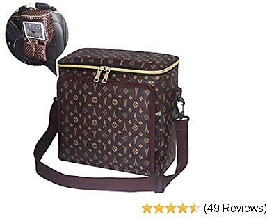50% OFF Lunch Bags for Women, Large Lunch Box Cooling Tote Bags Cooler Thermal Bag Reusable with Waterproof PU Leather(Brown)