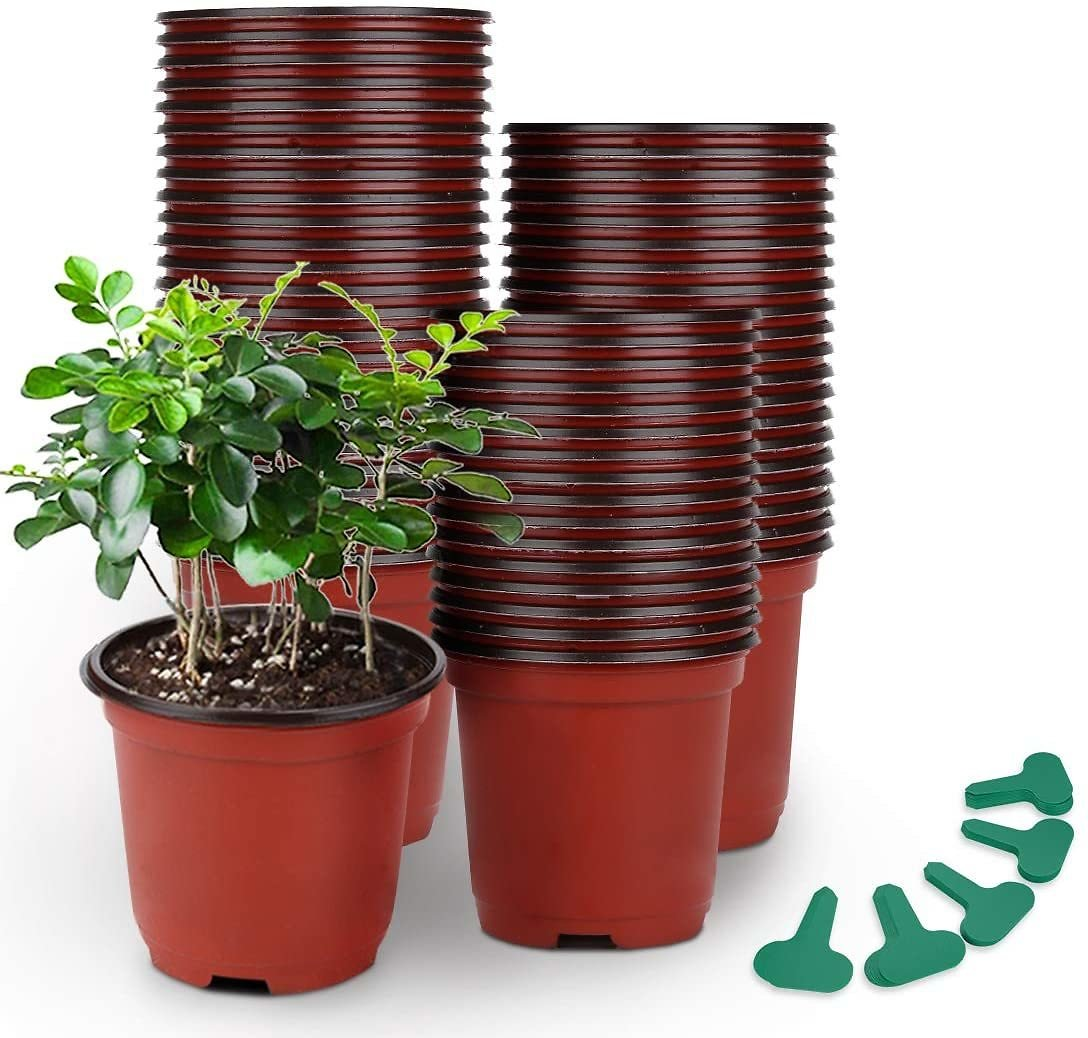 GROWNEER 120 Packs 4 Inches Plastic Plant Nursery Pots with 50 Pcs Plant Labels