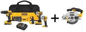 DEWALT 20-Volt MAX Lithium-Ion Cordless Combo Kit (4-Tool) with (2) Batteries 2Ah, Charger and Free 6-1/2 In. Circular Saw-DCK420D2DCS391B