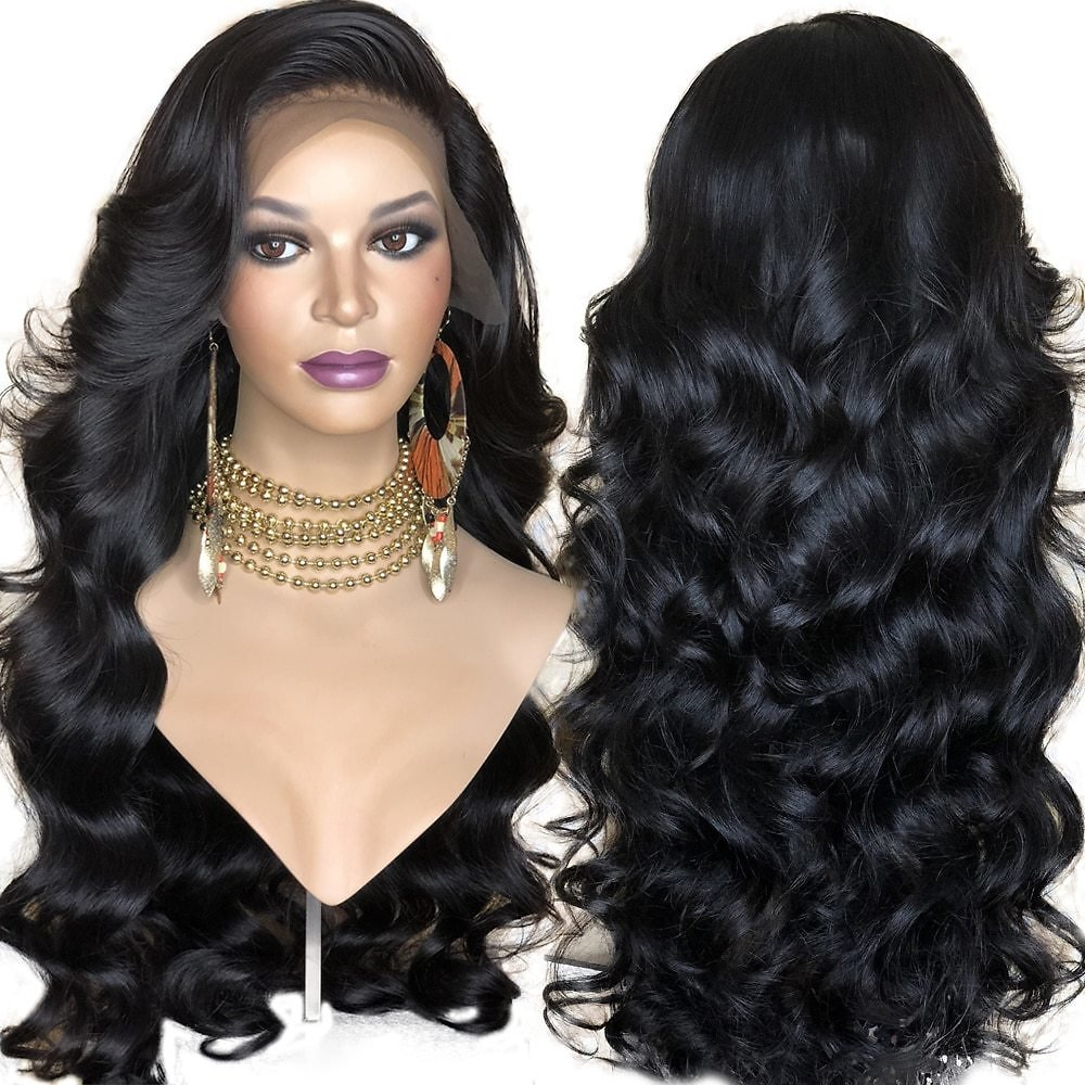 Synthetic Lace Front Wig For Women Black Body Wave Wig Glueless Heat Resistant Fiber Hair Wigs With Bangs Side Part