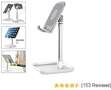 Licheers Cell Phone Stand, Height Angle Adjustable Phone Holder for Desk Tablet Stand Compatible with Smartphone, Tablet, Kindle, Nintendo Switch and More 4-11 Inch Devices (White)