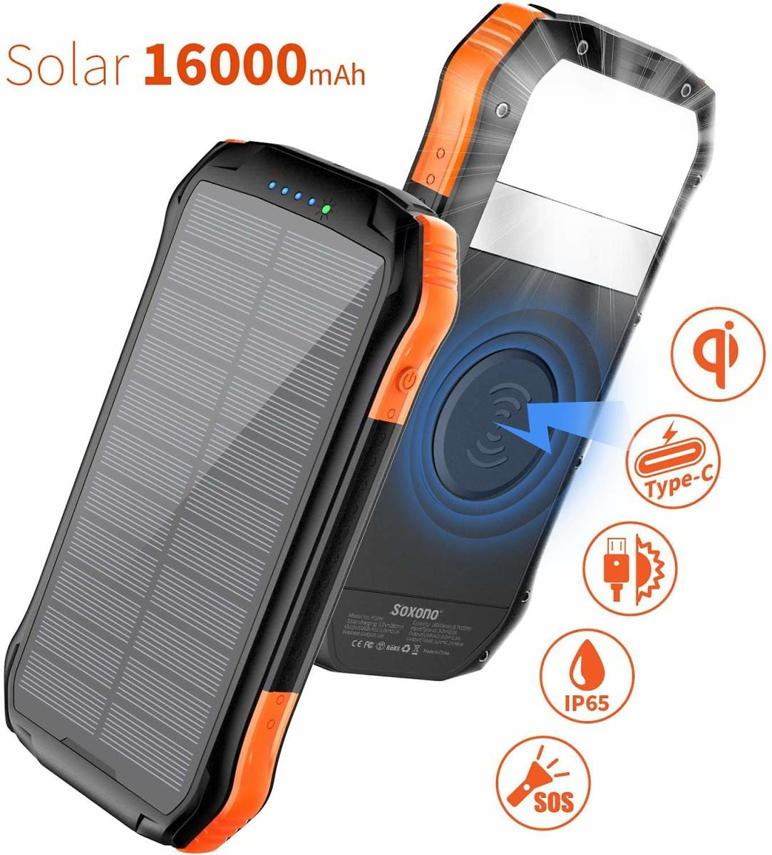 Solar Charger,Soxono 16000mAh Solar Power Bank with Qi Wireless Charger and 2-USB Port Ultra Portable Phone Charger Power Bank External Battery Pack with 15 LEDs Flashlight for IPhone,iPad,Samsung