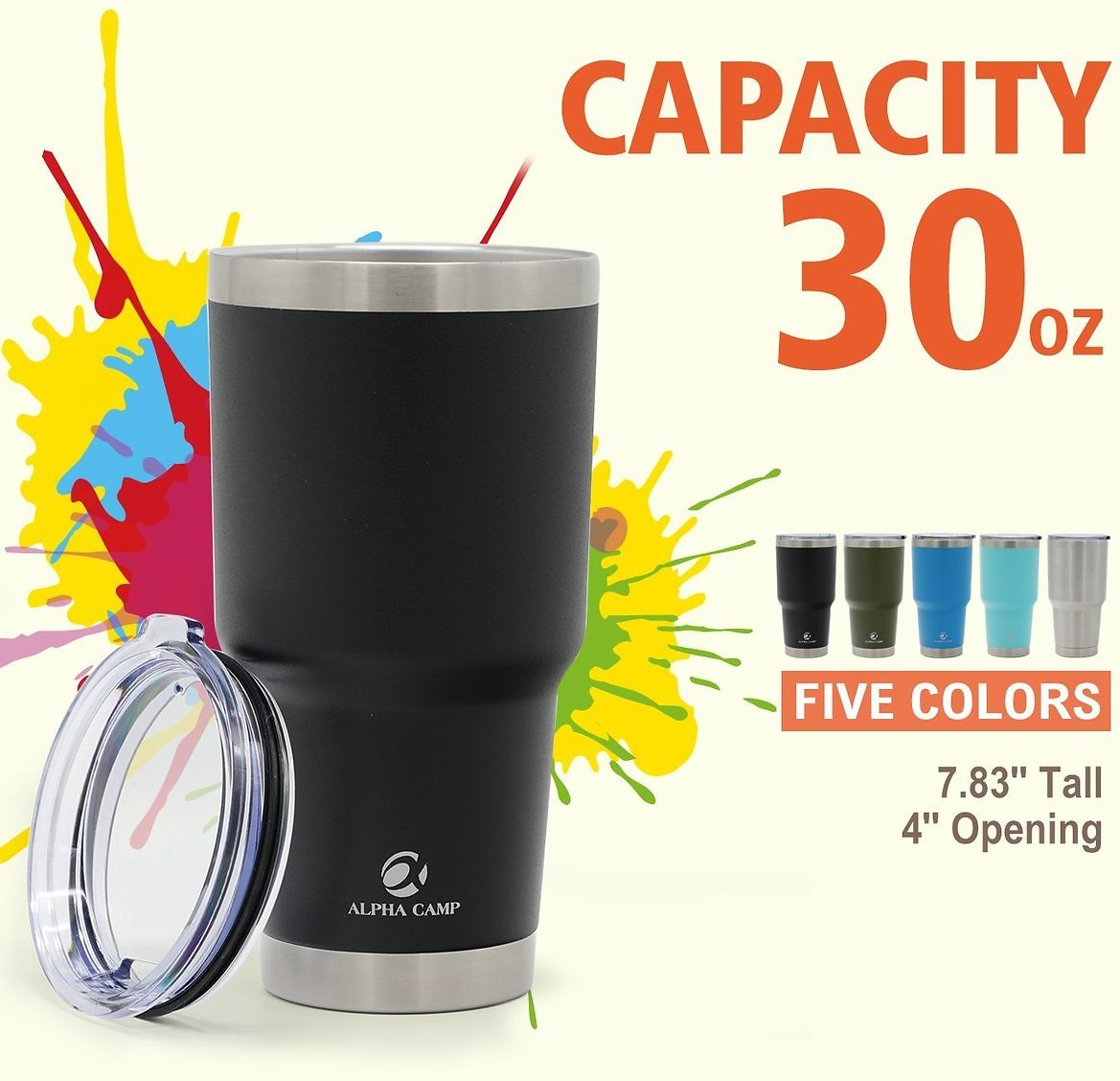 ALPHA CAMP 30 OZ Stainless Steel Tumbler