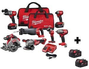 Milwaukee M18 FUEL 18-Volt Lithium-Ion Brushless Cordless Combo Kit (7-Tool) with Four M18 5.0 Ah Batteries-2997-27-48-11-1852