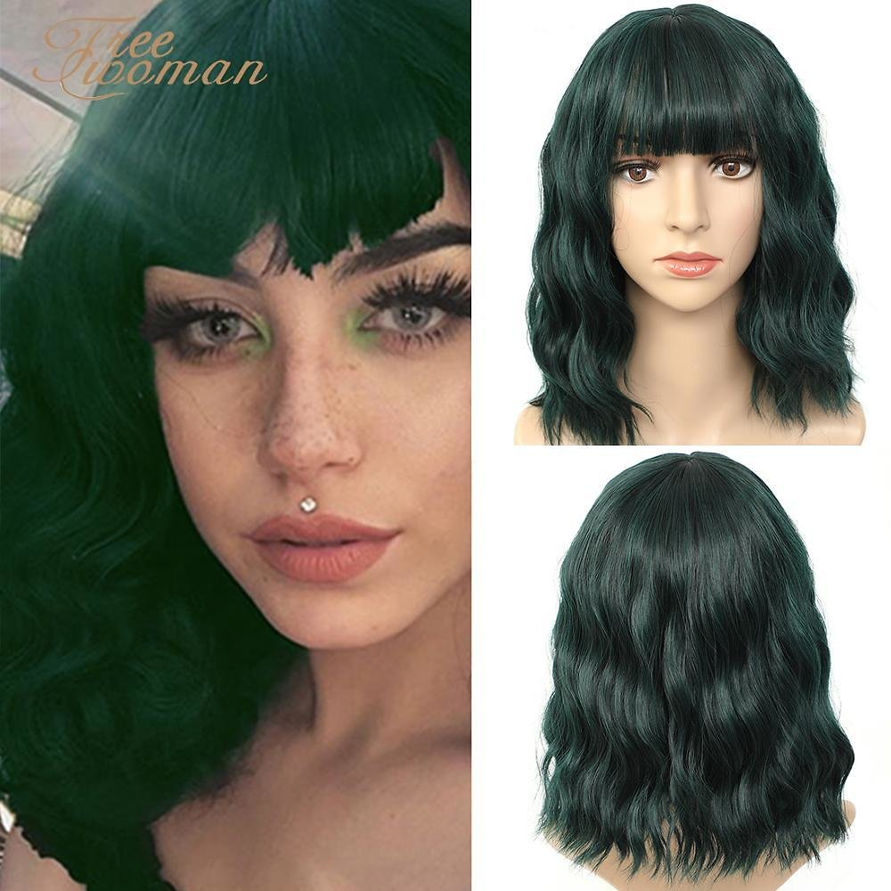 Green Synthetic Wig Lolita Short Bob Wig With Bangs Cosplay Water Wave Synthetic Hair Wigs For Women American Style