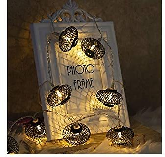 EAMBRITE Metal Black Lantern String Lights 10 LED Warm White Fairy Lights Battery Operated Indoor Decoration for Easter Birthday Wedding Window Desk Mantelpiece Party Kids' Room Bedroom