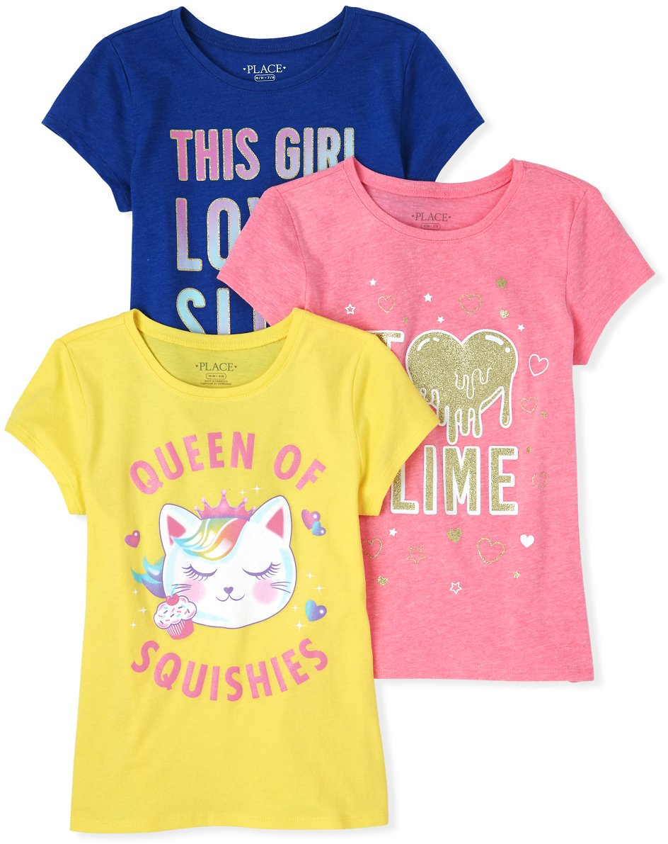 3 Pack/Girls Short Sleeve Glitter 'Queen Of Squishies' And Slime Graphic Tee 3-Pack