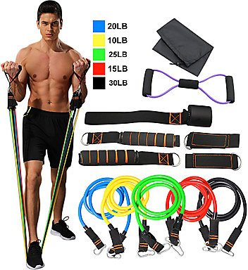 Resistance Band Set 12 Pcs 5 Stackable Exercise Bands Door Anchor Legs Ankle Straps Sports TPE Home Workout Pilates Fitness Heav