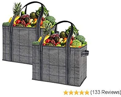 VENO 2 Pack Large Reusable Grocery Shopping Bag, Storage Box, Premium Quality, Heavy Duty Tote with Handles, Reinforced Bottom, Collapsible, Made from Recycled Material (Black/Windowpane - Large)