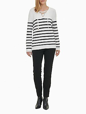 Striped V-Neck Lace-Up Sweater | Calvin Klein