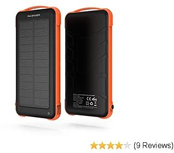 Solar Charger for Cell Phone, RAVPower 10000mAh Outdoor Battery Pack with ISmart 2.0 and Dual Input (Solar and Outlet), Shockproof Solar Power Bank with LED Flashlight for IPhone, Galaxy and More
