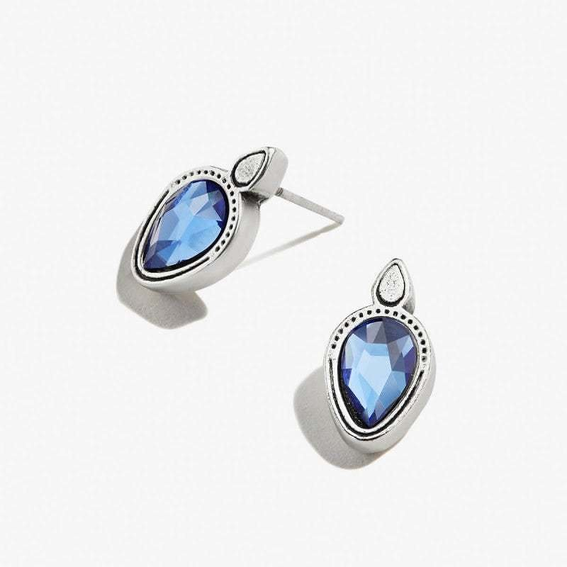 Sapphire Crystal Pear Stud Earrings Shiny Antique Silver