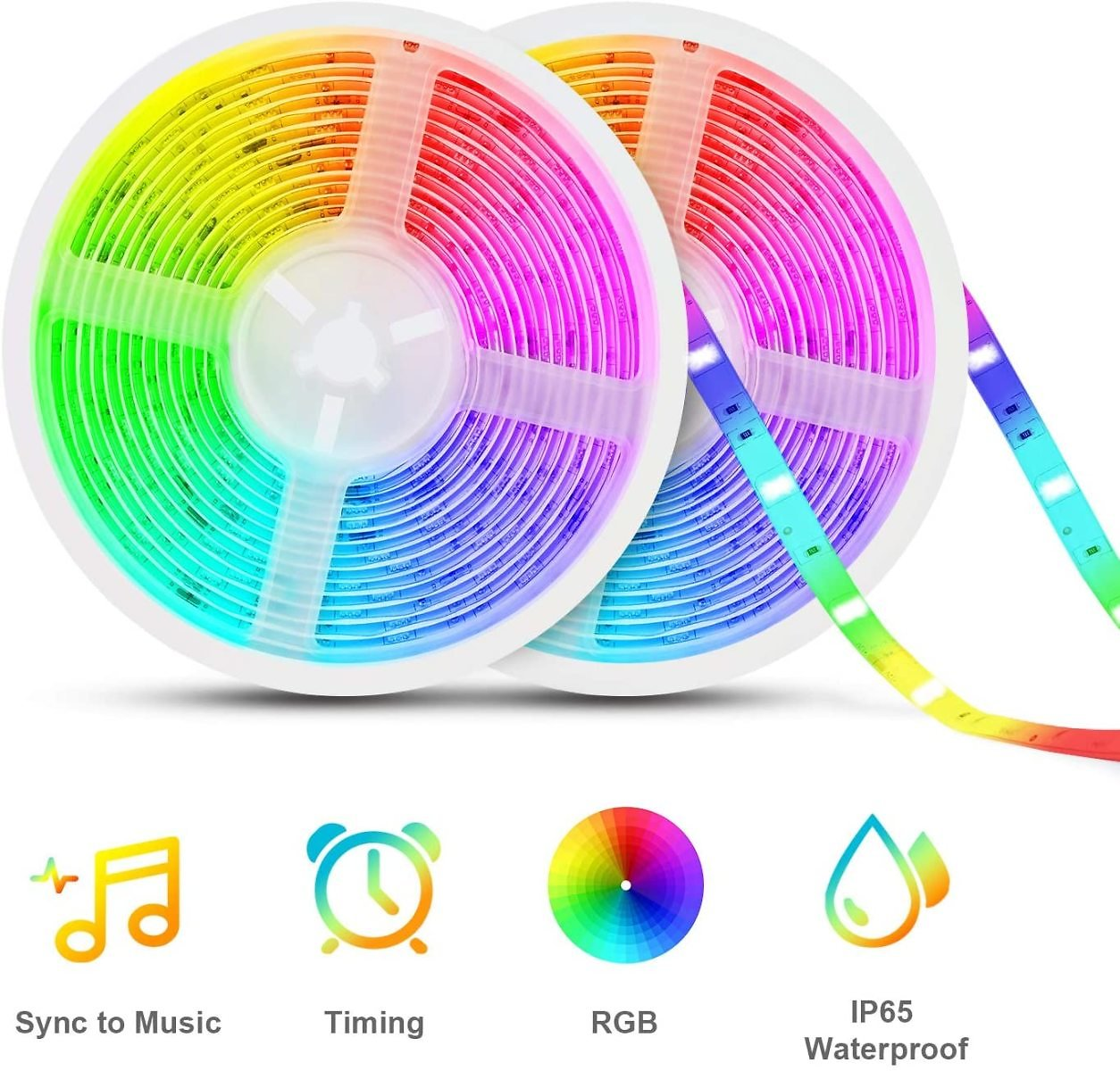 Led Strip Lights Sync to Music, Tasmor 32.8ft 5050 RGB Light Color Changing with Music IP65 Waterproof LED Rope Light with Contr