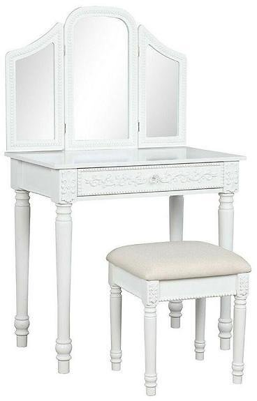Vanity Table Set with Tri-Folding Mirror and Stool