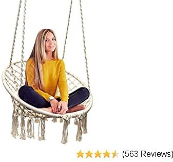 Hammock Chair Macrame Swing, 265 Pound Capacity, Perfect for Indoor/Outdoor Home, Patio, Deck, Yard, Garden (Single Swing)