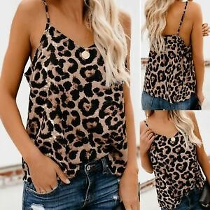 Women V-Neck Leopard Sexy Strappy Vest Tank Tops Backless Party Camisole Blouse