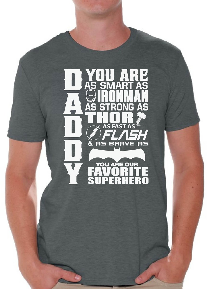 Awkward Styles - Awkward Styles Men's Daddy Superhero Graphic T-shirt Tops Proud Dad Best Dad Ever Father`s Day Gift