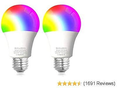 Smart Alexa Light Bulbs, SAUDIO WiFi LED Bulbs RGB Color Changing Bulbs, Compatible with Siri,Alexa, and Google Home Assistant, No Hub Required, A19 E26 Multicolor 2 Pack