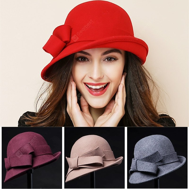 Stylish Bowknot Wool Women Bucket Hat Classic Retro Narrow-brimmed Crimping Hat Sale, Price & Reviews | Gearbest