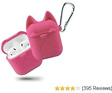 Airpods Case, Apple Wireless Earbuds Protective Case, Airpods Silicone Case Cover Waterproof Soft Skin with Anti-Lost Keychain Headphone Accessories for Apple Airpods Charging Case