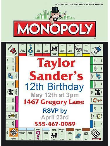 Monopoly Board Invitations