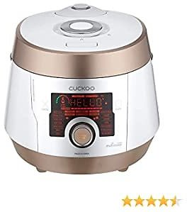 Cuckoo Multi Pressure Cooker, CMC-ASB501F, A50 Premium Series 8 in 1 (Pressure, Slow, Rice Cooker, Browning Fry, Steamer, Warmer, Yogurt, Soup Maker)18+ Smart Options, Stainless Steel, 5QT, GOLD/WHITE