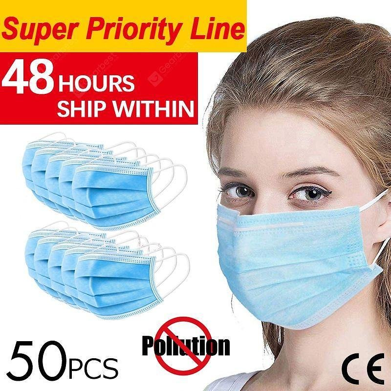 50pcs Anti-Pollution Face Masks Ordinary Nonmedical Disposable 3 Layer Meltblown Filter Earloops Sale, Price & Reviews | Gearbest