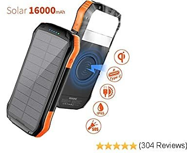 Soxono 16000mAh Solar Power Bank with Qi Wireless Charger and 2-USB Port