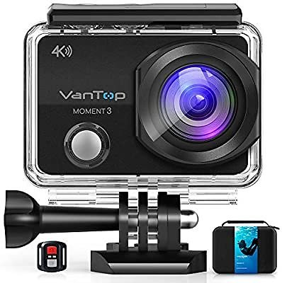 VanTop Moment 3 4K Action Camera W/Gopro Compatible Carrying Case,Remote Control,16MP Sony Sensor,30M Waterproof Camera W/Gopro