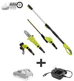Sun Joe 24-Volt Cordless Electric Lawn Care System Hedge Trimmer, Pole Saw and Grass Trimmer Kit with 2.0 Ah Battery + Charger