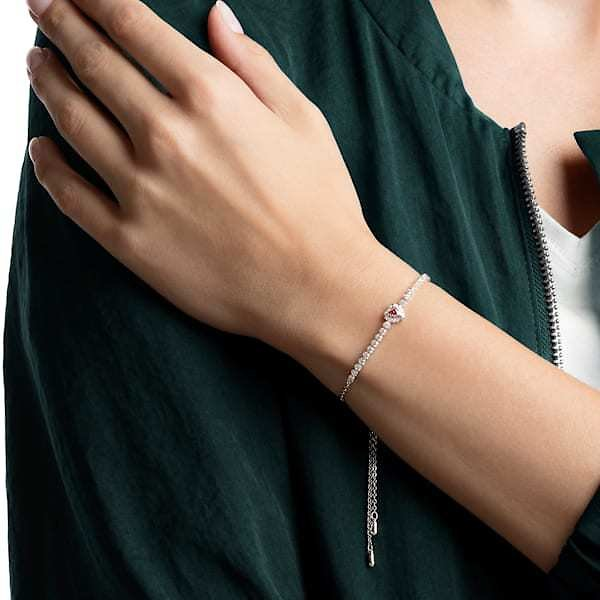 One Bracelet, Red, Rhodium Plated
