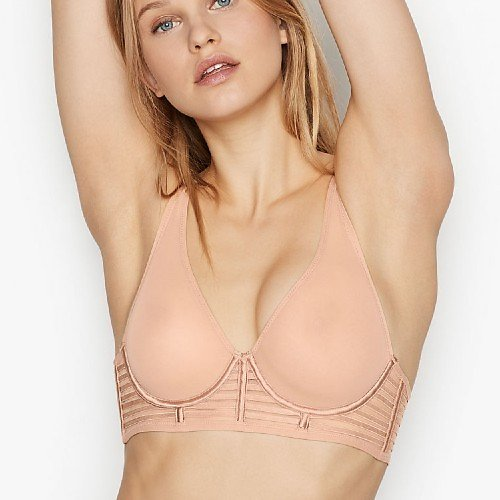 Unlined Mesh Full-coverage Plunge Bra (2 Colors)