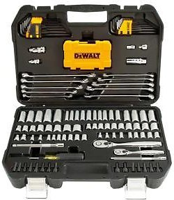 DEWALT 1/4 In. X 3/8 In. Drive Polished Chrome Mechanics Tool Set (142-Piece)-DWMT73802
