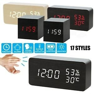 FREE SHIPPING/Modern Wooden Wood Digital LED Desk Alarm Clock Voice Control Thermometer USB