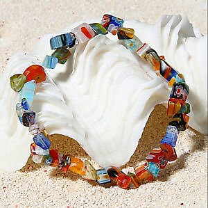 Women Lampwork Glass Beads Stretch Elastic Bracelet Ladies Jewelry Gifts