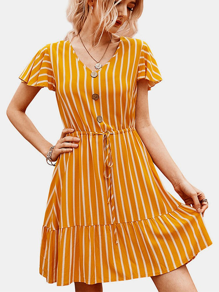Striped Print Ruffled Sleeves V-neck Button Casual Dress For Women
