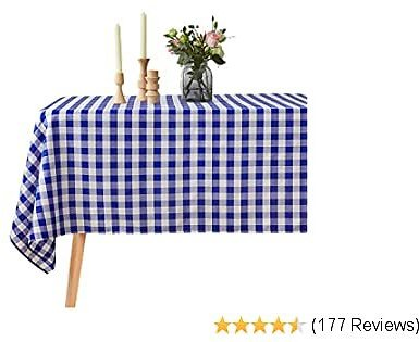 VEEYOO Spillproof Checkered Tablecloth Polyester Stain Resistant Wrinkle Free and Waterproof Table Cloth for Outdoor Picnic,Party, Home Dinner (Rectangle Tablecloth, White & Blue, 60x102 Inch)